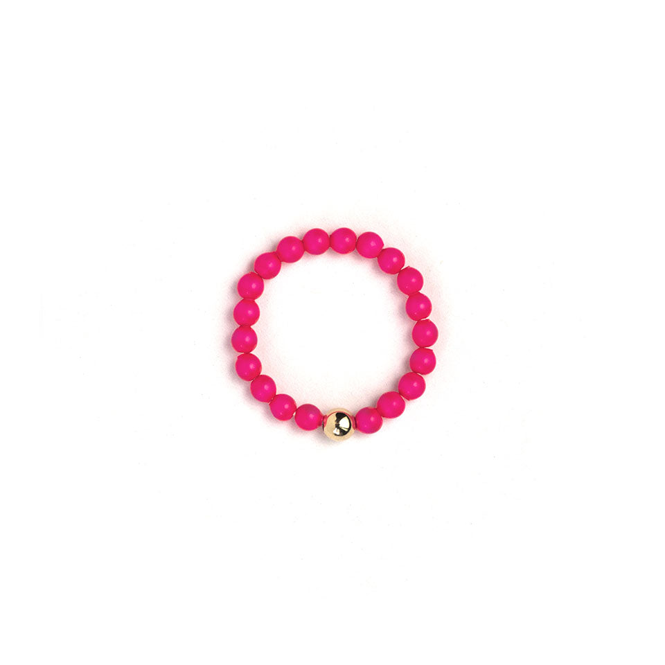 Neon Pink Beaded Ring