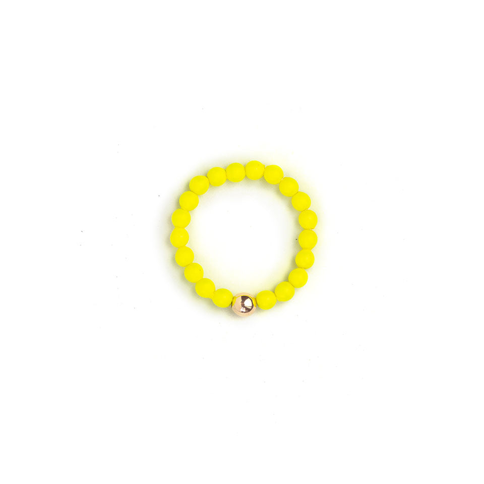 Neon Yellow Beaded Ring