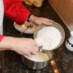 Fold the milk and egg mixture into the flour