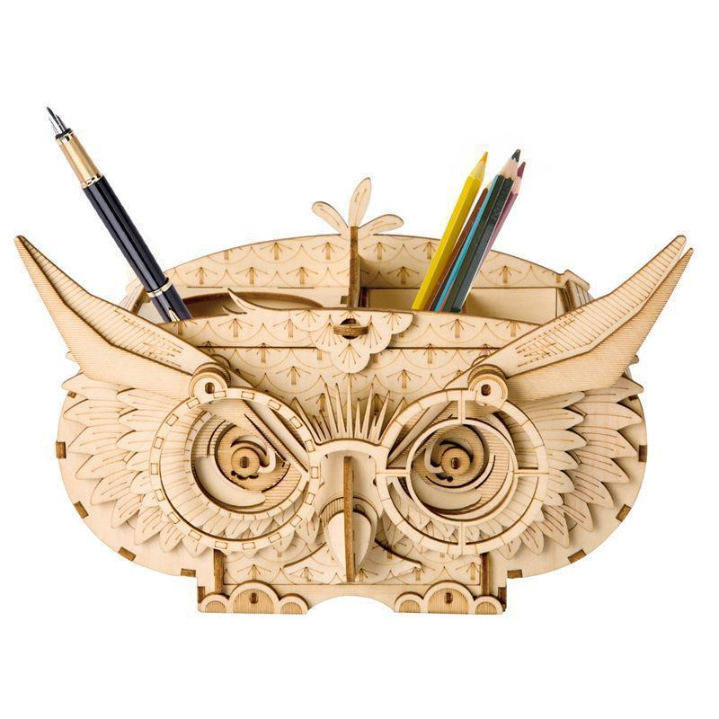 3D Wooden Puzzle Creative Owl Box Wood Pen Pencil Container Holder Wooden Craft Kits Brain Teaser 3D Wood Puzzle for Kids Adults Best Birthday Gifts