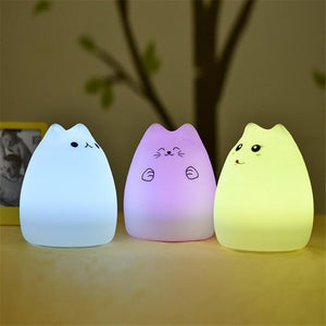 USB rechargeable LED Colorful Night Light Animal Cat stype Silicone Soft