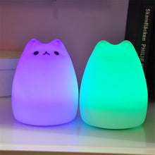 Load image into Gallery viewer, USB rechargeable LED Colorful Night Light Animal Cat stype Silicone Soft