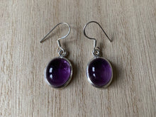 Load image into Gallery viewer, Amethyst sterling silver earrings Oval