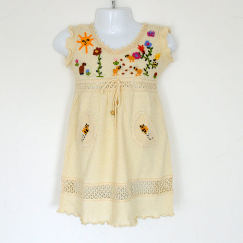 Girls cotton dress, Girl summer dress, Baby summer dress (Hand embroidered 100% organic)