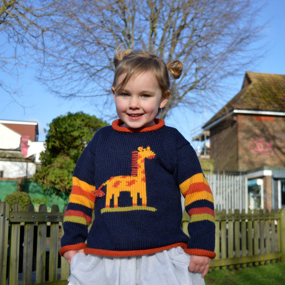 Toddler knit sweater, children knitted jumper, Alpaca wool Jumper, Girl Blue Jumper, Giraffe Girl Pullover, Boy giraffe motif jumper