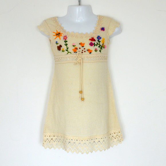 Girl Dress, Summer Girl Dress, Baby summer dress (Hand embroidered 100% organic)