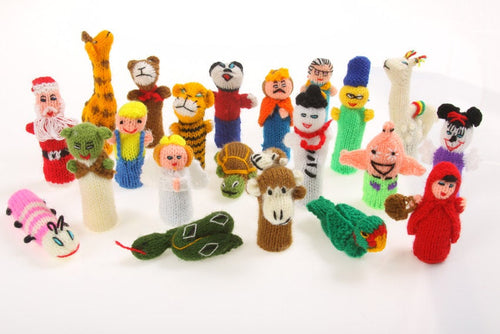 3 Hand Knitted Finger Puppets, Puppets Stocking Fillers