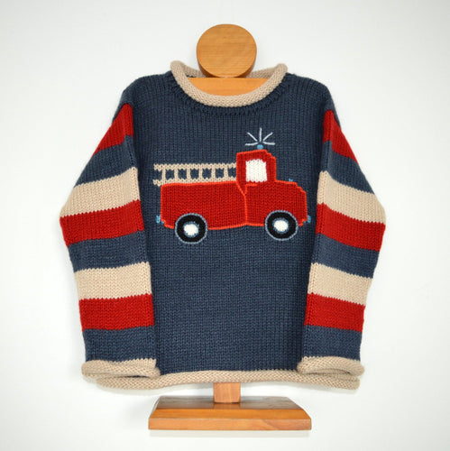 Boy Alpaca Sweater Fire engine motif, Boy Alpaca Jumper Sweater/Pullover Fire engine