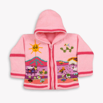 Girl/Baby/ Children/Kids Pink fleece lined knitted Cardigan/Sweater/Jacket/Coat (Fleece lined) with hand embroidered applications
