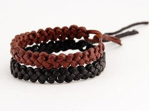 Leather Wristband in Black or Brown