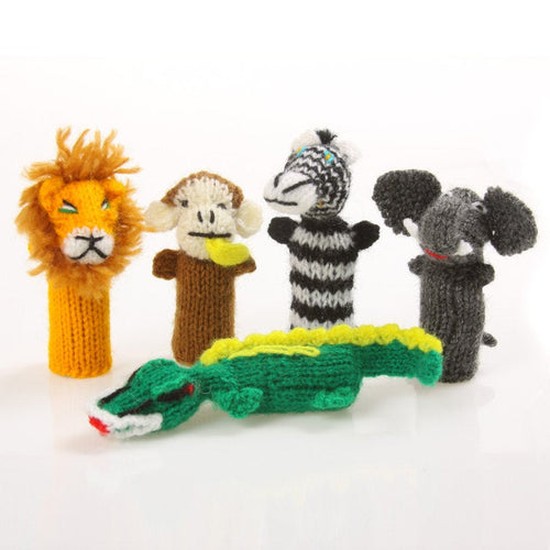 5 Hand Knitted Finger Puppets, Puppets Stocking Fillers