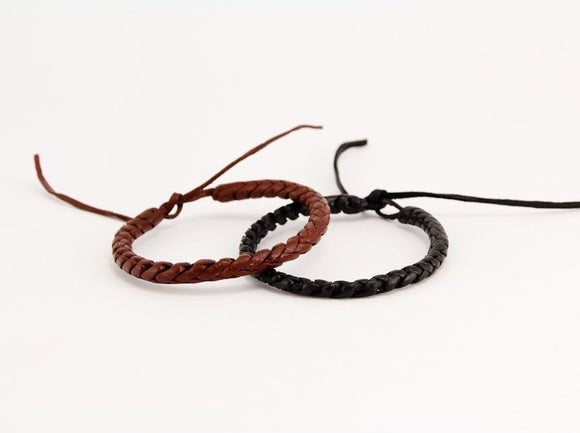 Leather bracelet, Black and Brown leather bracelet
