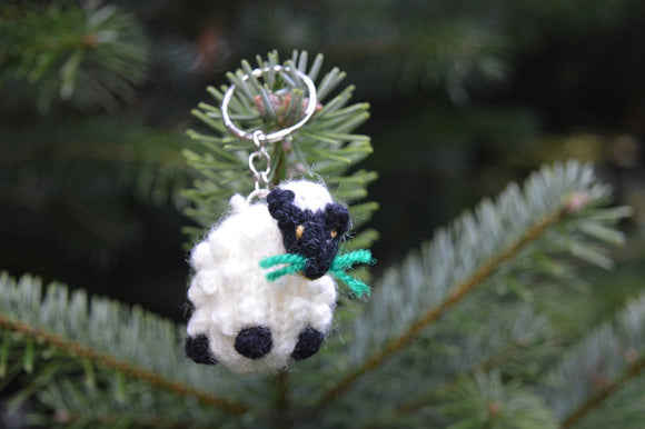 Sheep Keyring, Sheep Keychain, Hand Knitted Sheep, Farm animal