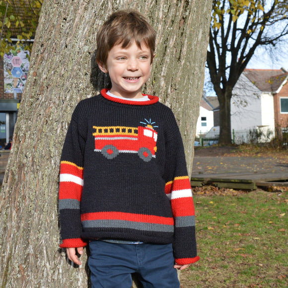 Boy Alpaca Jumper Fire engine motif, Boy Alpaca Jumper Sweater/Pullover Fire engine, Wool jumper, Toddler jumper, Children jumper, Gift boy