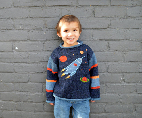 Boy Alpaca Jumper Rocket motif, Boy Sweater/Pullover, Knitted Children Clothing,Toddler Clothing, Fun children clothes, Blue jumper, Toodler