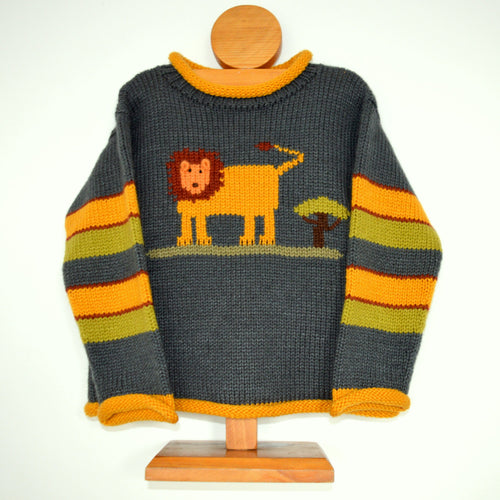 Toddler knit Jumper, Lion motif Sweater, Alpaca Sweater, Knitted boy jumper, Grey lion pullover, Wool boy jumper, Gift for boys