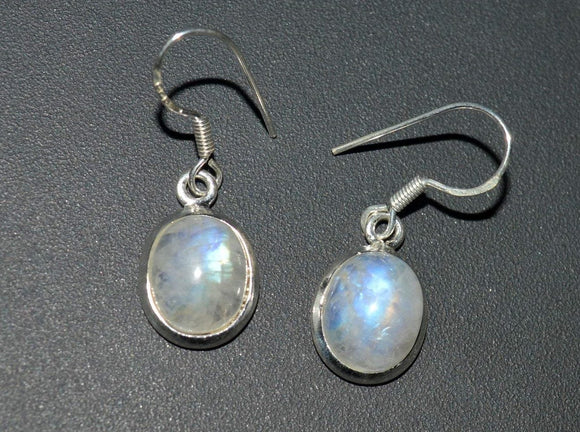 Moonstone silver earrings, Dangle moonstone silver earrings, Rainbow Moonstone Earrings, Drop Earrings, Oval Rainbow Moonstone, Gift for her