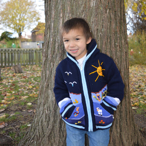 Boy/Baby/Children/Kids Blue fleece lined knitted Cardigan/Sweater/Jacket/Coat with hand embroidered applications