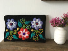 Load image into Gallery viewer, Make up bag, Make up case, Flower bag, Hand embroidered bag, Cosmetic bag, Gift for her, Pencil case, Make up storage, Friend present