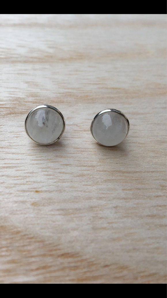 Stud moonstone sterling silver earrings, Round moonstone earrings, Rainbow moonstone studs, moon stone studs, Gift for her