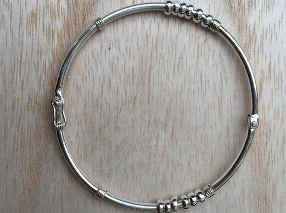 Sterling silver bangle, Silver bangle with beads, Everyday silver bangle