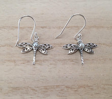Load image into Gallery viewer, Sterling Silver Dragonfly earrings with semi precious stones,