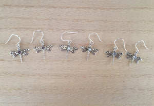 Sterling Silver Dragonfly earrings with semi precious stones,