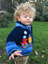 Load image into Gallery viewer, Train sweater boy/baby cardigan, Knitted  cardigan with train motifs,  Toddler pullover