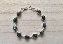 Load image into Gallery viewer, Labradorite sterling silver bracelet Oval