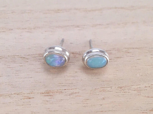 Opal stud silver earrings Oval
