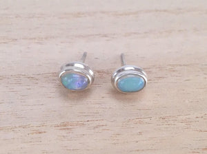 Opal stud silver earrings, Oval stud sterling silver opal earrings, Real opal Earrings, Gift for her, Ethiopian opal studs earrings
