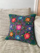 Load image into Gallery viewer, Hand embroidered flower pillow cover, Peruvian cushion cover, Floral alpaca and sheep wool cushion cover