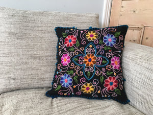 Hand embroidered flower pillow cover, Peruvian cushion cover, Floral alpaca and sheep wool cushion cover