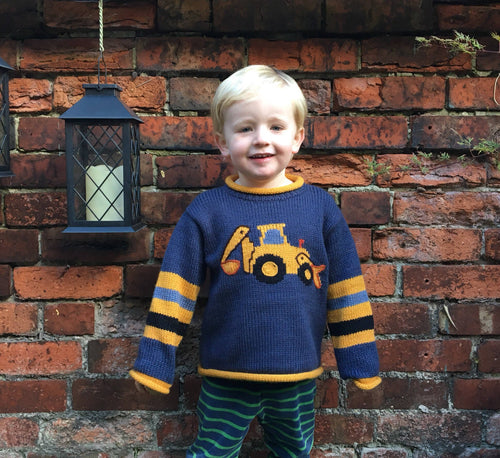 Alpaca kids sweaters, Boy Digger jumper,  Boy Alpaca Jumper Digger motif, boy alpaca sweater digger design