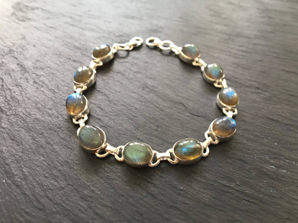 Labradorite sterling silver bracelet, Women labradorite silver bracelet, March and February birthstone bracelet