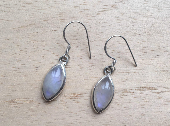 Almond shape Moonstone silver earrings, Dangle moonstone silver earrings, Rainbow Moonstone Earrings, Drop Earrings, Gift for her