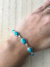 Load image into Gallery viewer, Turquoise sterling silver link bracelet