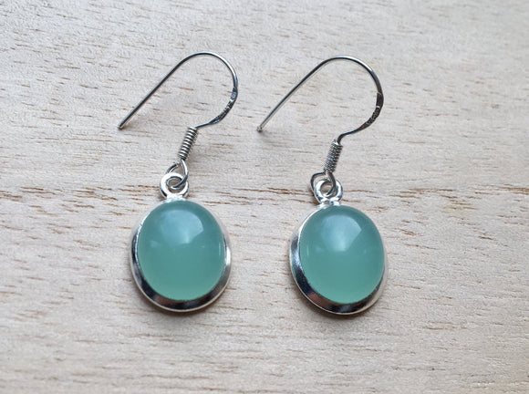 Oval Aqua Chalcedony silver earrings, Dangle Green Chalcedony silver earrings, sea blue Earrings, Drop Earrings, Gift for her