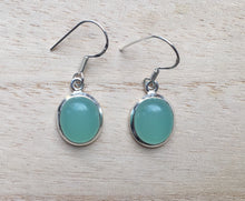 Load image into Gallery viewer, Oval Aqua Chalcedony silver earrings