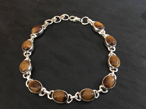 Tigers eye sterling silver bracelet