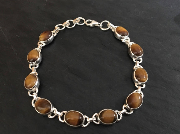 Tigers eye sterling silver bracelet, tigers eyes bracelet, Silver chain bracelet