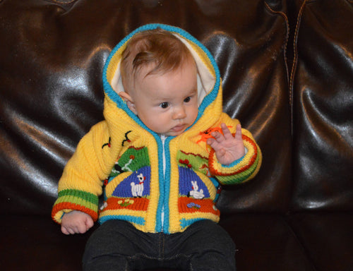 Yellow fleece cardigan/sweater/jacket/ coat with hand embroidered applications