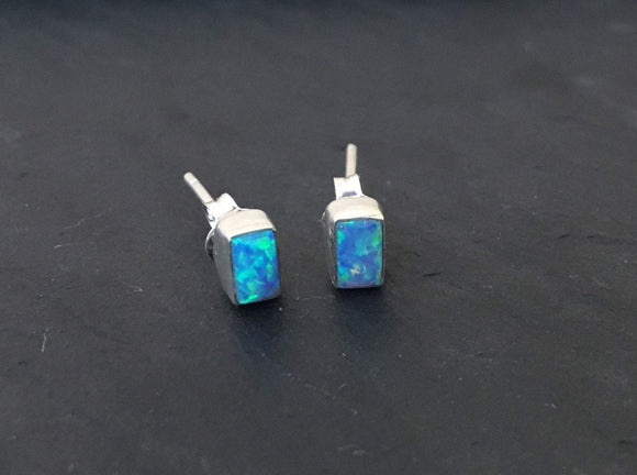 Blue Opal stud silver earrings, Stud  opal silver earrings, opal Earrings, Stud Earrings, Rectangular opal earrings, Minimalist, Gif for her