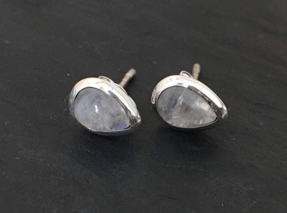 Moonstone stud silver earrings, Stud  rainbow moon stone silver earrings, Moonstone Earrings, Stud Earrings, Round earrings, Gif for her