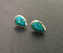 Load image into Gallery viewer, Turquoise stud silver earrings Teardrop