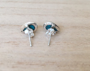 Turquoise stud silver earrings Teardrop