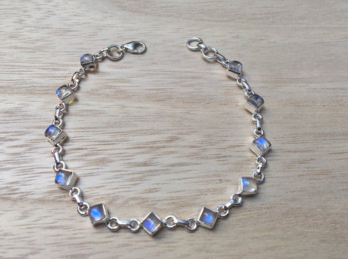 Moonstone sterling silver bracelet Diamond shape