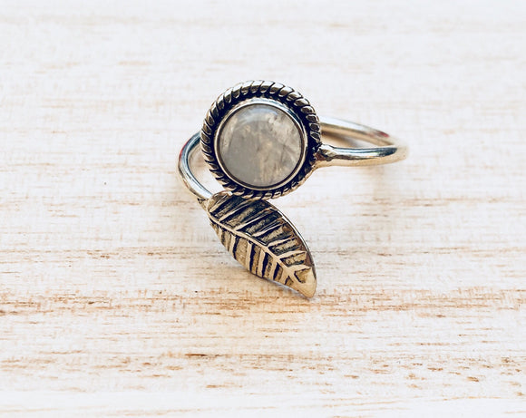Leaf sterling silver ring, Adjustable leaf sterling silver ring, Gift for her, Leaf moonstone ring, Leaf turquoise ring, Boho silver ring,