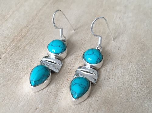 Turquoise silver earrings Oval and Teardrop