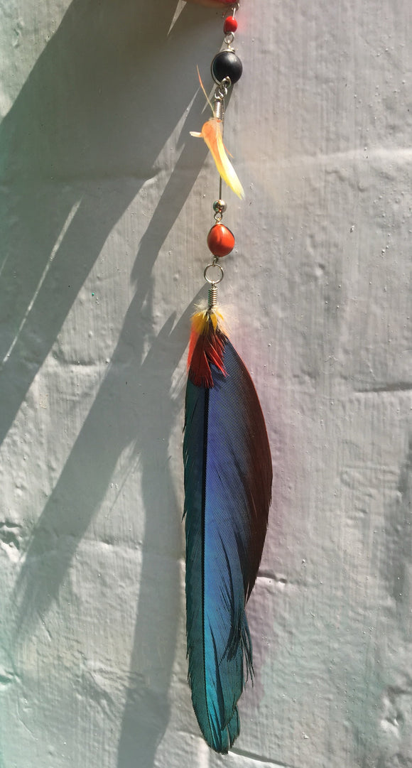 Feather earring, Festival earrings, Boho earrings, Real macaw feather single earring